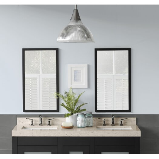 Ronbow Contemporary Solid Wood Framed Bathroom Mirror In Black Allmodern