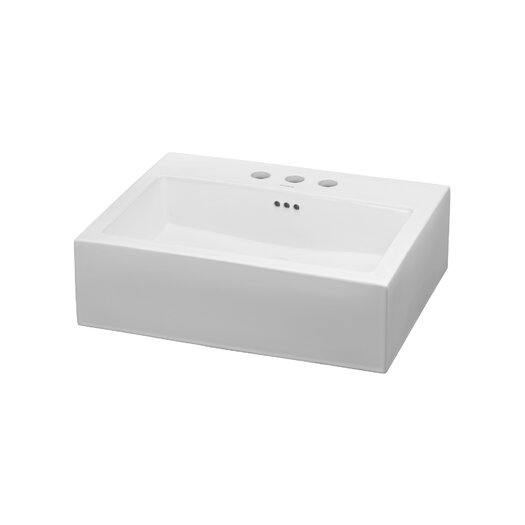 Ronbow Rectangle Ceramic Vessel Bathroom Sink in White