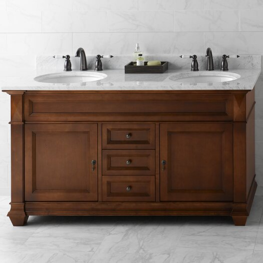 """Ronbow Torino 60"""" Bathroom Vanity Cabinet Base in Colonial Cherry"""