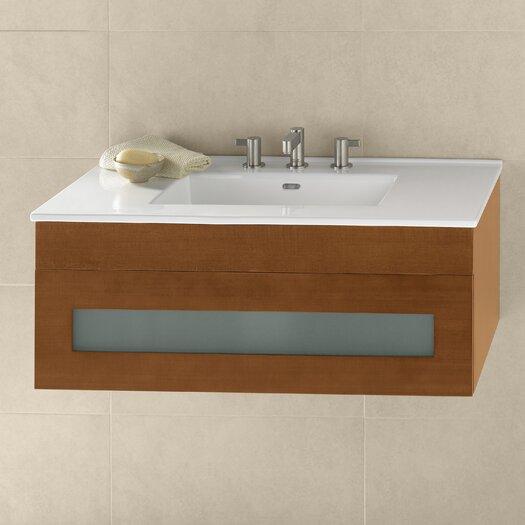 "Ronbow Rebecca 36"" Wall Mount Bathroom Vanity Base Cabinet in Cinnamon"