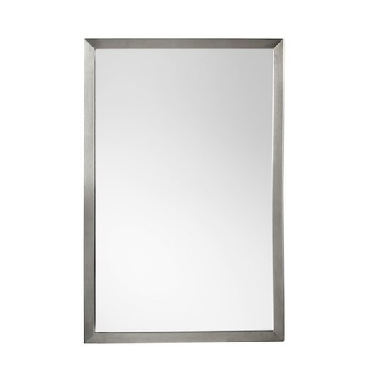Ronbow contemporary 23 x 34 metal framed bathroom mirror in brushed nickel allmodern for Bathroom mirrors brushed nickel