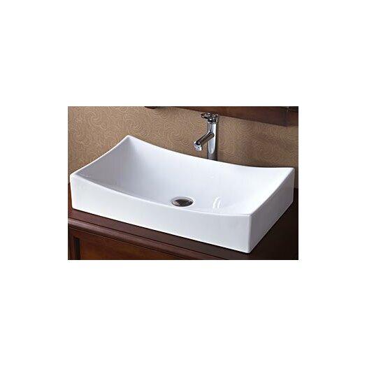 Ronbow Rectangular Ceramic Vessel Bathroom Sink in White