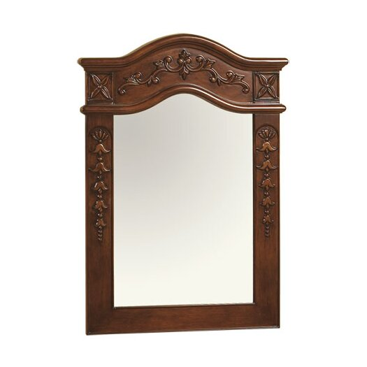 """Ronbow Bordeaux Traditional 24"""" x 34"""" Solid Wood Framed Bathroom Mirror in Colonial Cherry"""