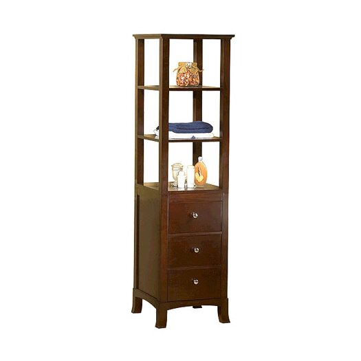 Ronbow Transitional Linen Cabinet Storage Tower in Vintage Walnut