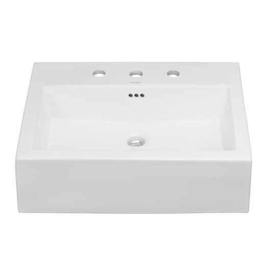 Ronbow Ronbow Rectangle Ceramic Semi Recessed Vessel Bathroom Sink with Overflow