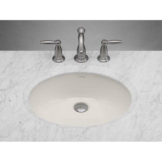 Ronbow Oval Ceramic Undermount Bathroom Sink in Biscuit