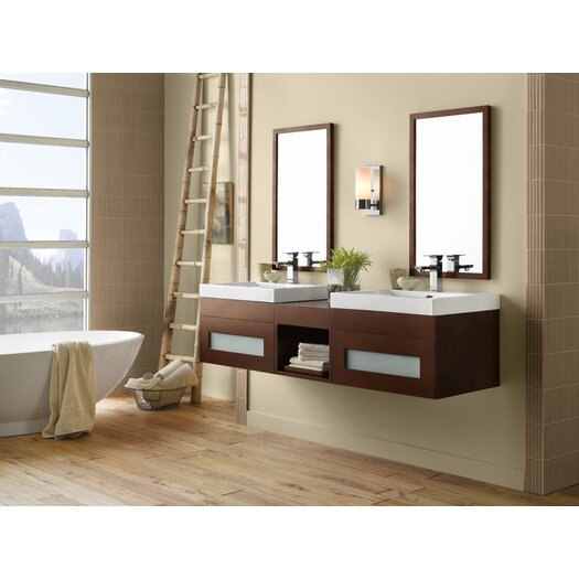 "Ronbow Rebecca 23"" Wall Mount Bathroom Vanity Base Cabinet in Dark Cherry"