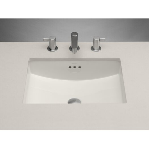 Ronbow Rectangle Ceramic Undermount Bathroom Sink in Biscuit