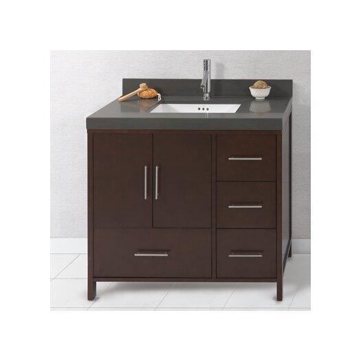 """Ronbow Juno 36"""" Bathroom Vanity Cabinet Base in Dark Cherry - Doors on Left"""