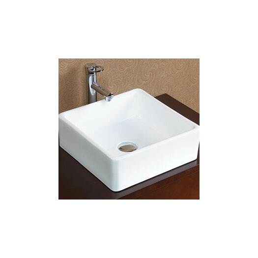 Ronbow Square Tapered Ceramic Vessel Bathroom Sink without Overflow