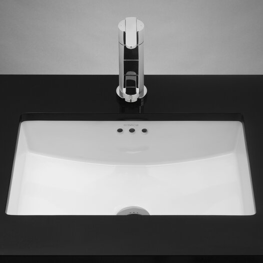 Ronbow Rectangular Ceramic Undermount Bathroom Sink in White