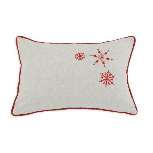 Brite Ideas Living Snowflakes Embroidered Linen Throw Pillow