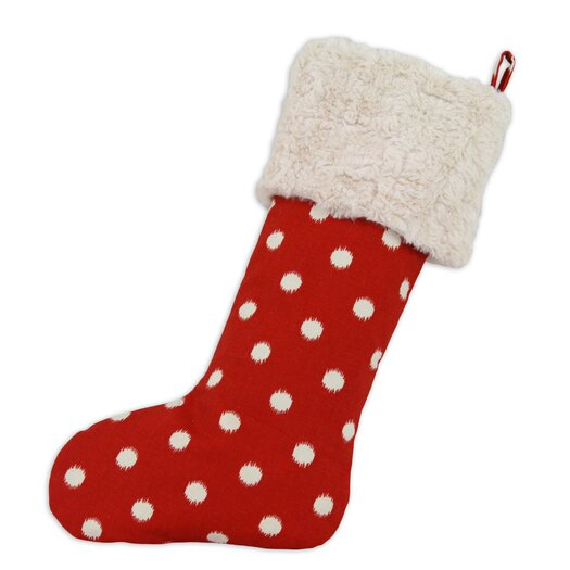 Brite Ideas Living Ikat Dot Lined Trimmed Christmas Stocking