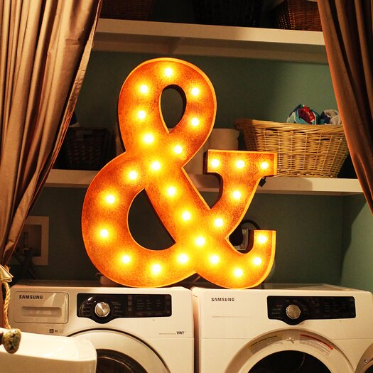 Vintage marquee lights ampersand wall decor allmodern for Ampersand decor