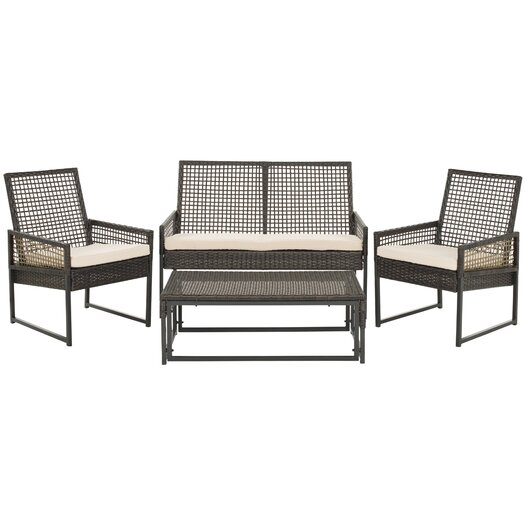 Safavieh Shawmont 4 Piece Deep Seating Group with Cushions
