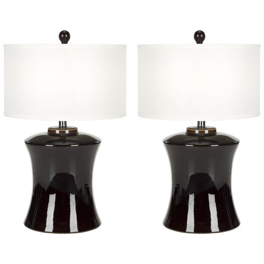 "Safavieh Gary Ceramic 24"" H Table Lamp with Drum Shade"