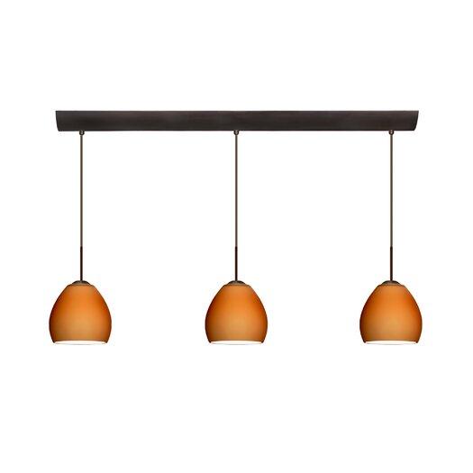 Besa Lighting Bolla 3 Light Mini Pendant with Bar Canopy