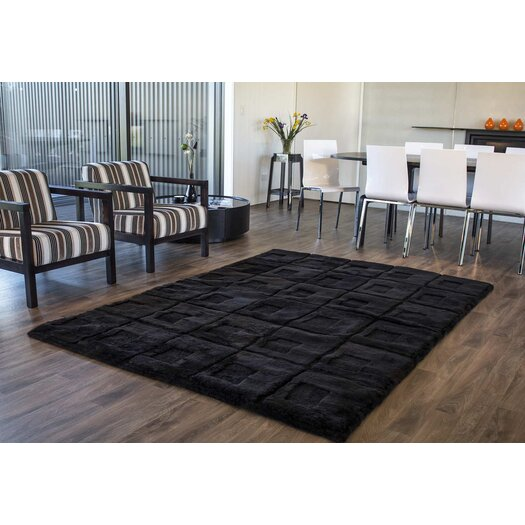 Bowron Sheepskin Rugs Shortwool Design Orbit Black Area Rug