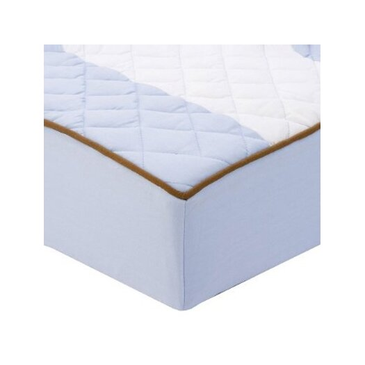 Bacati Metro Quilted Changing Pad Cover in Blue and Chocolate
