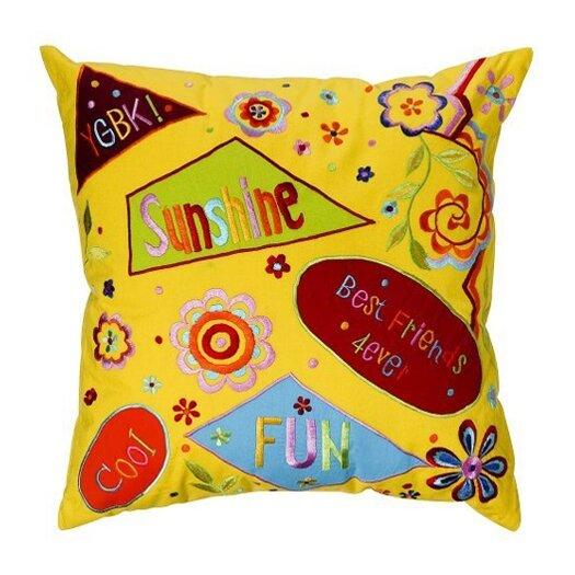 Bacati Sunshine Embroidered Cotton Throw Pillow