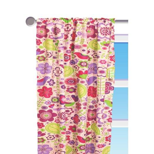 Bacati Botanical Purple Floral Cotton Rod Pocket Single Curtain Panel