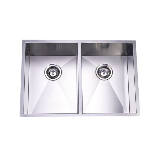 "Elements of Design 29"" x 20.06"" Towne Square Undermount Offset Double Bowl Kitchen Sink"