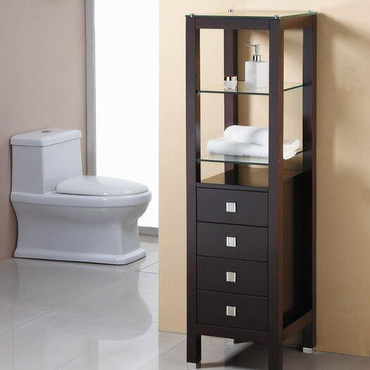 Virtu 16 3 x 58 3 free standing linen tower allmodern - Free standing linen cabinets for bathroom ...