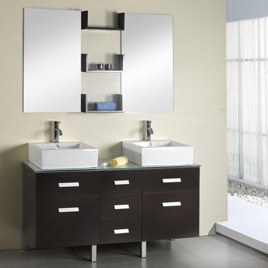 "Virtu Maybell 56"" Double Bathroom Vanity Set with Mirror"