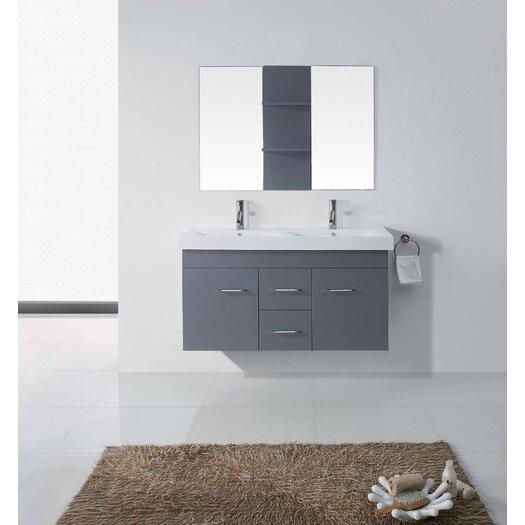 """Virtu Opal 47"""" Double Bathroom Vanity Set with Mirror"""
