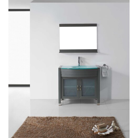 "Virtu Vina 35"" Single Bathroom Vanity Set with Mirror"