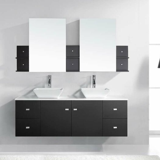 "Virtu Clarissa 61"" Floating Double Bathroom Vanity Set with Mirror"
