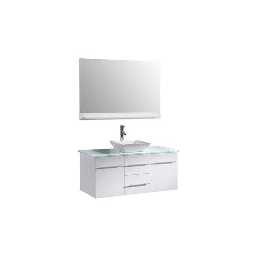"Virtu Ultra Modern 47"" Single Bathroom Vanity Set with Mirror"
