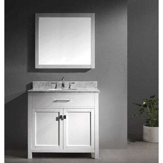 """Virtu Caroline 36"""" Single Bathroom Vanity Set with Mirror I"""