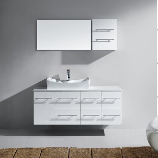 """Virtu Ceanna 53"""" Single Bathroom Vanity Set with White Artificial Stone Top and Mirror"""