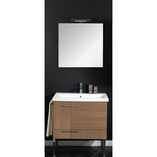 "Iotti by Nameeks Simple 30"" Single Wall Mounted Bathroom Vanity Set with Mirror"