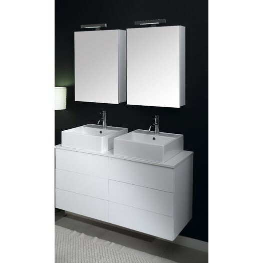 """Iotti by Nameeks Time 47"""" Double Wall Mounted Bathroom Vanity Set with Mirror"""
