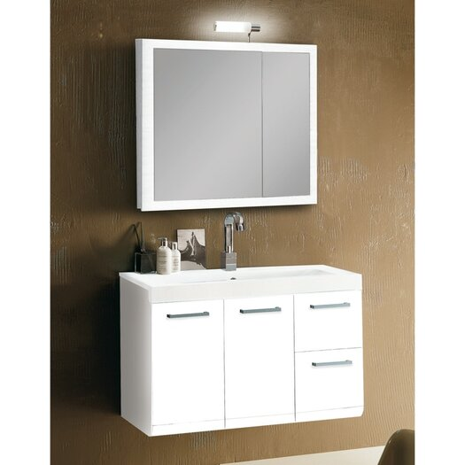 "Iotti by Nameeks Linear 38"" Single Wall Mounted Bathroom Vanity Set with Mirror"