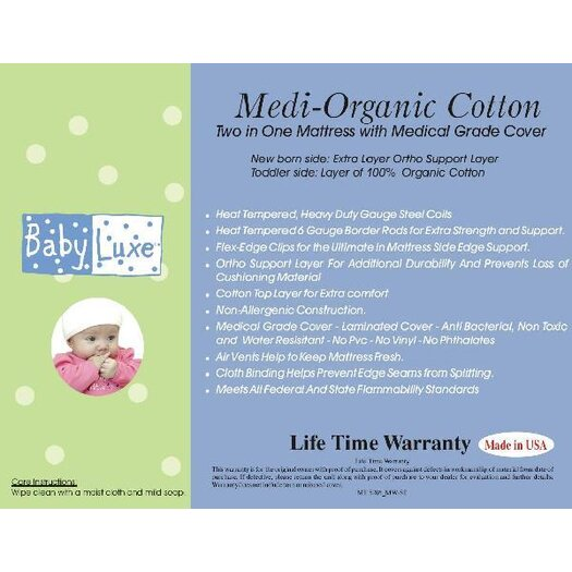 Baby Luxe by Priva Medi-Organic Medical Grade 2 in 1 Mattress