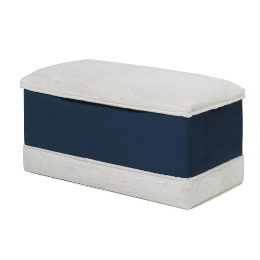 Hannah Baby Deluxe Toy Box in Navy Blue Micro With Sherpa Trim