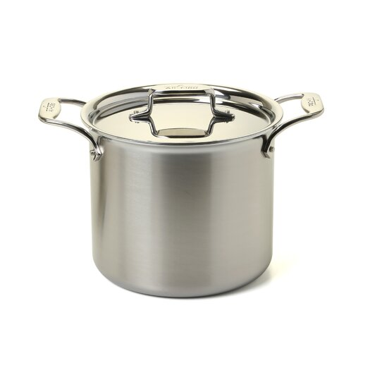 All-Clad d5 Brushed Stainless Steel 7 Qt. Tall Stock Pot with Lid