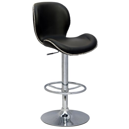Chintaly Imports Pneumatic Gas Adjustable Height Swivel Bar Stool with Cushion