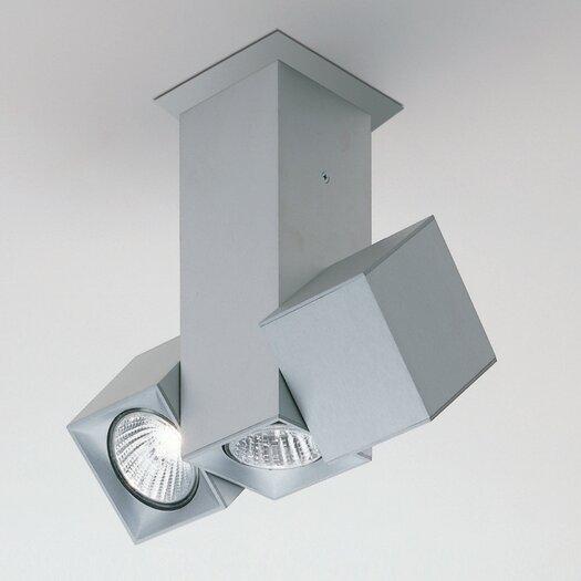 Zaneen Lighting Dau Spot Three Light Flush Mount with Dual Rotating Spot Lights