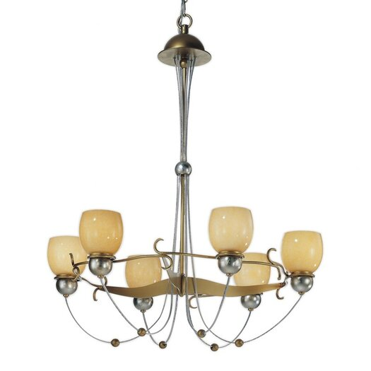 Zaneen Lighting Rimini Six Upward Light Chandelier in Vintage Gold