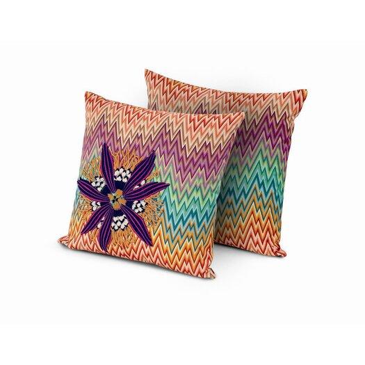 Girandole Narboneta Embroidered Cotton Throw Pillow