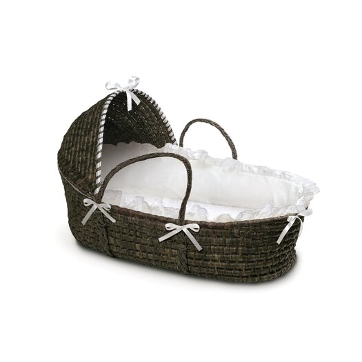 Badger Basket Espresso Hooded Moses Basket with White Bedding