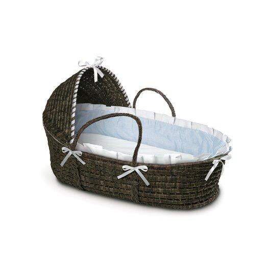 Badger Basket Hooded Moses Basket with Gingham Bedding