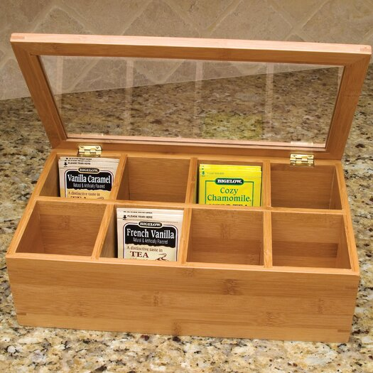 Lipper International Bamboo 8 Compartment Tea Box with Acrylic and Bamboo Lid