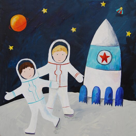 Cici Art Factory Wit & Whimsy Brothers on the Moon Giclee Canvas Art