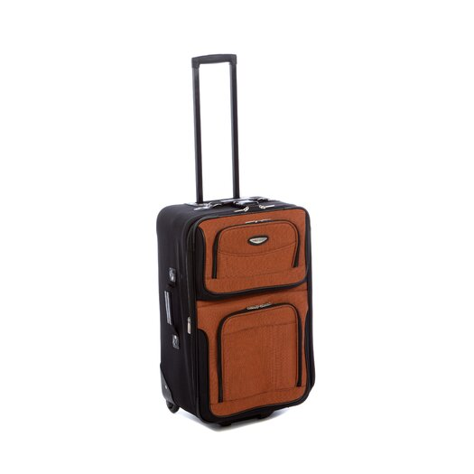 "Traveler's Choice Amsterdam 25"" Expandable Rolling Suitcase in Orange"