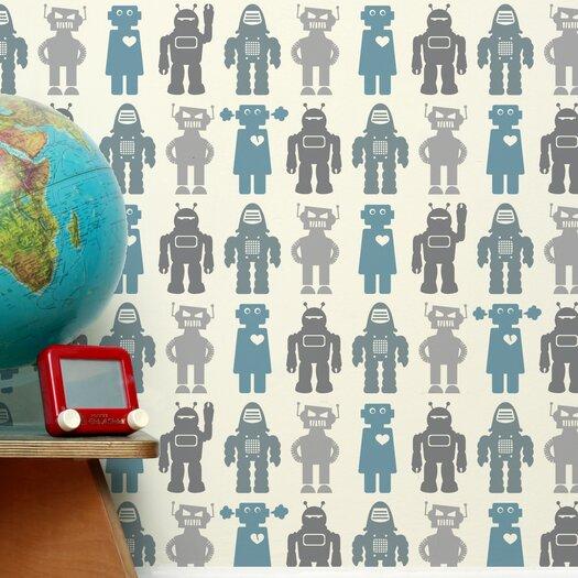 Aimee Wilder Wallpaper: Aimee Wilder Designs Analog 1' X 8'' Robots Wallpaper